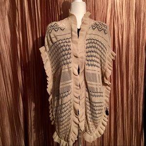 Joseph A. Crocheted Cream Shrug Size Small NWT
